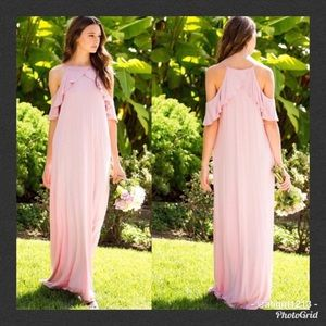FLASH SALE - Open Shoulder Ruffled Maxi Dress